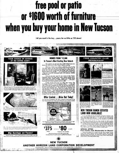 New Tucson, Horizon Land Corporation ad, Tucson Citizen, 24 January 1964, p.28 *** Click pic to enlarge.