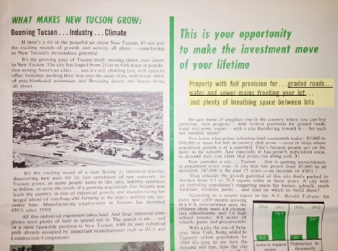 In the 1970s low owners were promised roads and utilities would be put in theNew Tucson/Sycamore Vista Subdivision. This is a page from their sales brochure given to buyers. A long-term lot owner sent it to me.